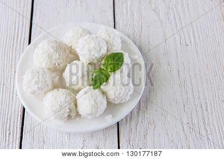 Homemade candies with coconut
