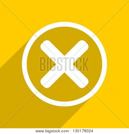 yellow flat design cancel web modern icon for mobile app and internet