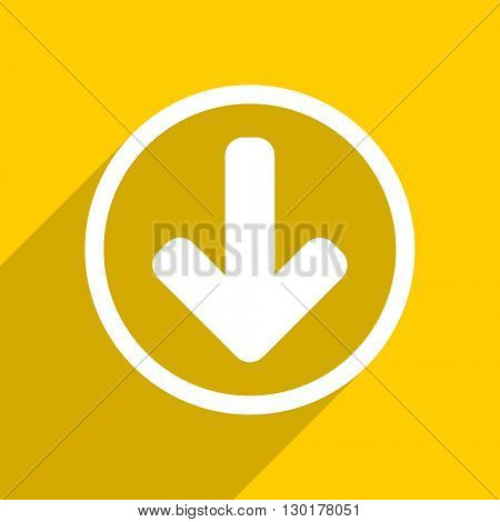yellow flat design download arrow web modern icon for mobile app and internet