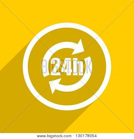 yellow flat design 24h web modern icon for mobile app and internet