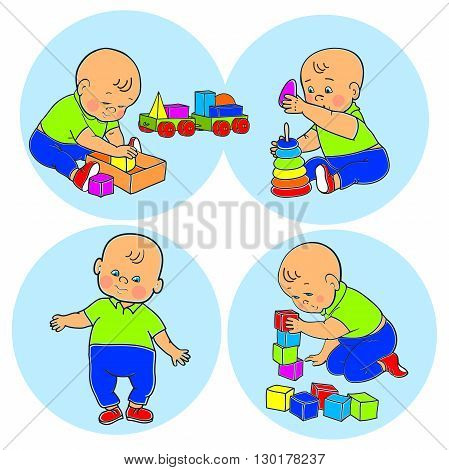 Little lovely baby boy playing with toys. Kid plays with pyramid. Kid plays with constructor train from geometric shapes. Kid builds house from cubes. Colorful vector illustration set