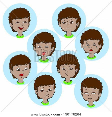 Child face emotion gestures vector illustration set collection. Boy smiling laughing angry crying showing tongue whistles thoughtful
