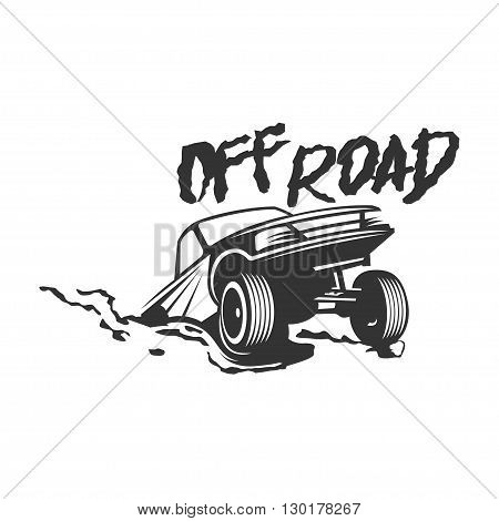 Off-road suv car monochrome label emblem badge or logo isolated on white background. Off-roading trip emblem 4x4 extreme club emblem. Vector EPS10.