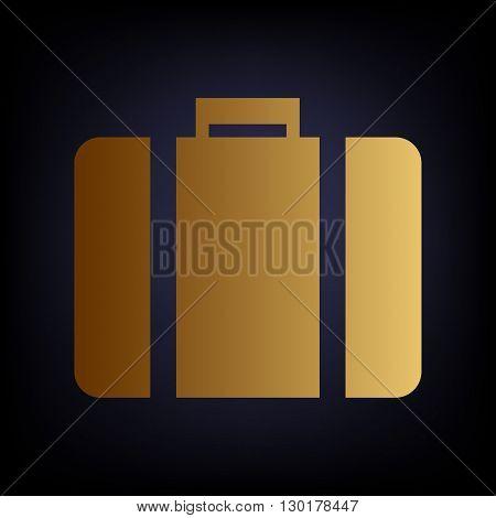 Briefcase sign. Golden style icon on dark blue background.