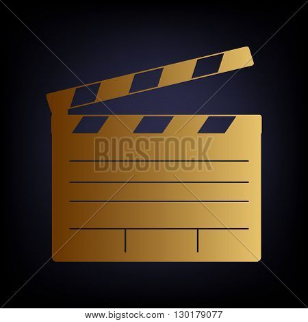 Film clap board cinema sign. Golden style icon on dark blue background.