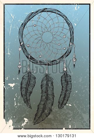 Dream catcher. Isolated hand drawn vector illustration.