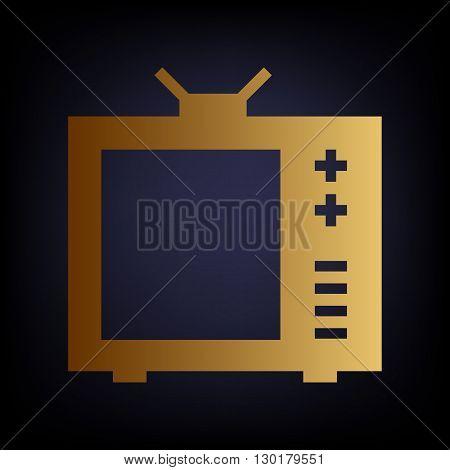 TV sign. Golden style icon on dark blue background.