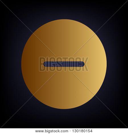 Negative symbol. Minus sign. Golden style icon on dark blue background.