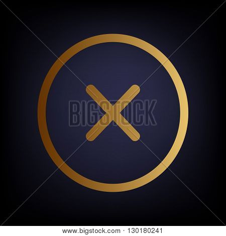Cross sign. Golden style icon on dark blue background.