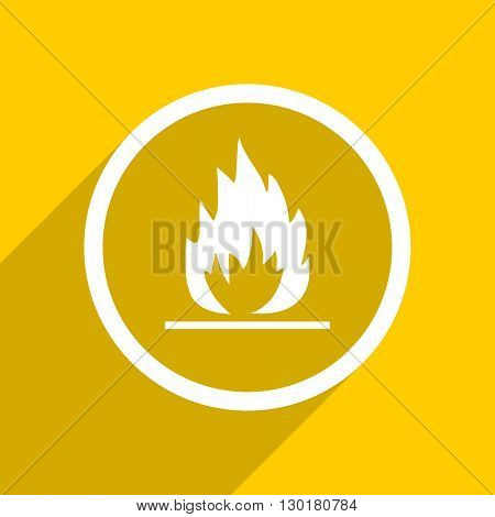 yellow flat design flame web modern icon for mobile app and internet