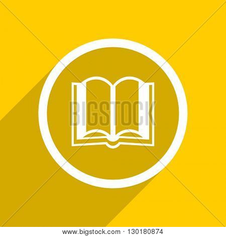 yellow flat design book web modern icon for mobile app and internet