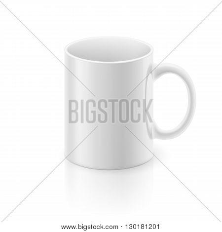 White glossy mug on the white background.