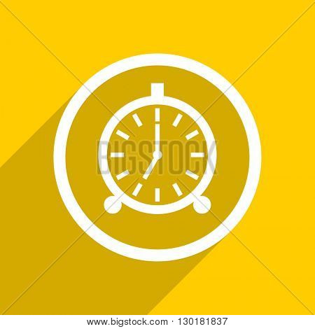 yellow flat design alarm web modern icon for mobile app and internet