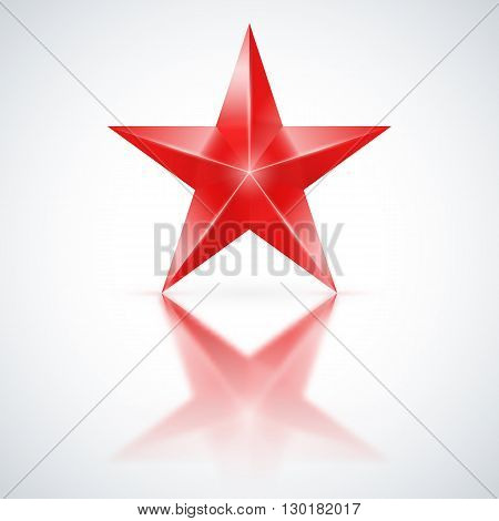 Red star of five points on white background.