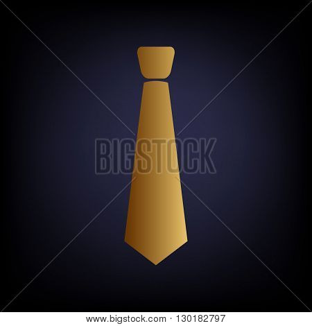 Tie sign. Golden style icon on dark blue background.