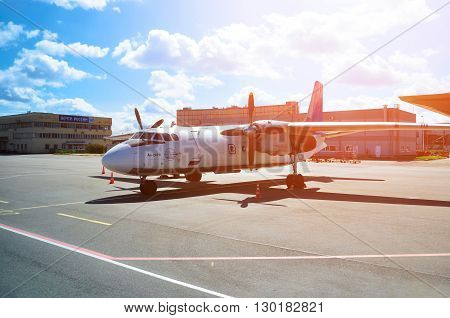 SAINT PETERSBURG RUSSIA - MAY 11 2016. Pskov Avia Airlines Antonov An-24PB airplane -registration number RA 26086. Airplane is parked at Pulkovo International airport