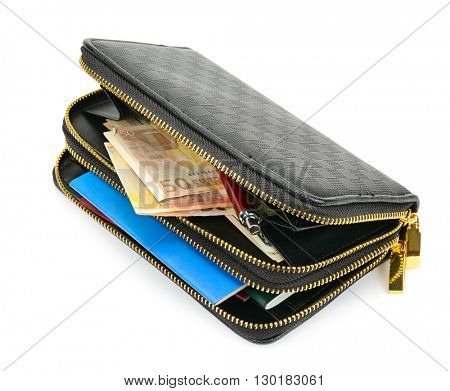 wallet with documents and money isolated on white background