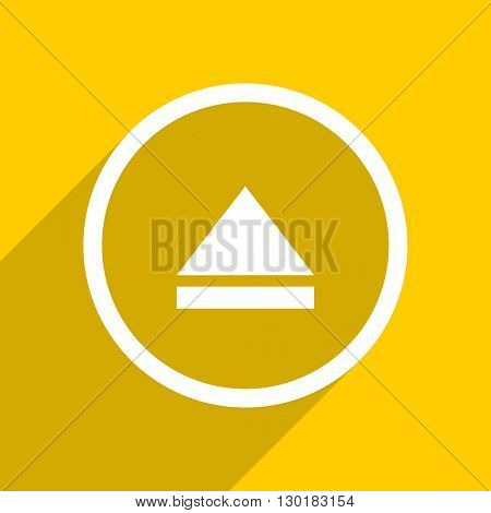 yellow flat design eject web modern icon for mobile app and internet