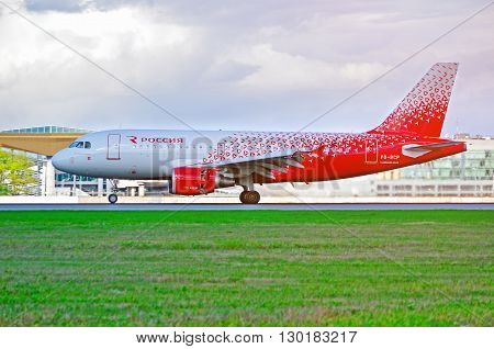 SAINT PETERSBURG, RUSSIA -MAY 11 2016. Rossiya Airlines Airbus A319 airplane in new livery -registration number VQ-BCP. Airplane rides on the runway after arrival at Pulkovo International airport