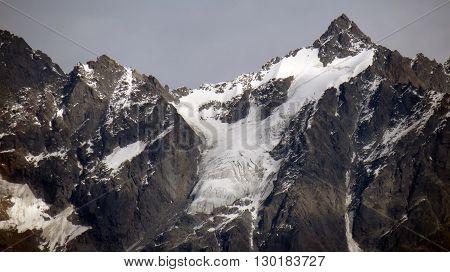 View of snow capped Himalayan mountain range, Shimla,  Himachal Pradesh, India.