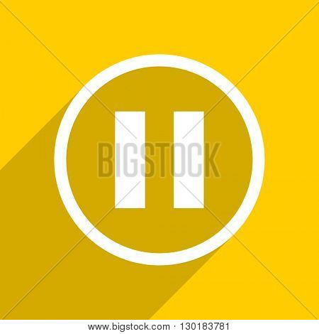 yellow flat design pause web modern icon for mobile app and internet