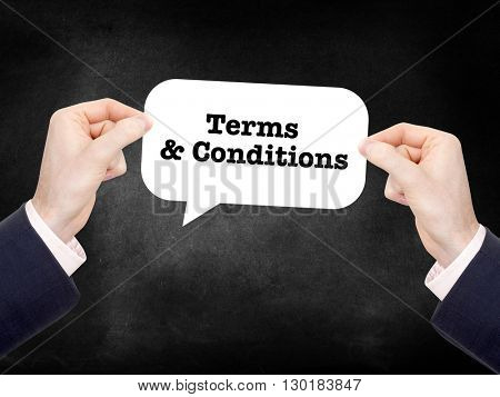 Terms and conditions written on a speechbubble