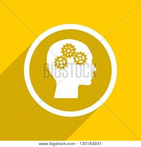 yellow flat design head web modern icon for mobile app and internet
