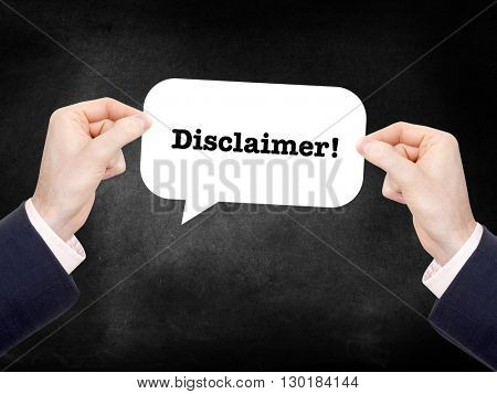 Disclaimer written on a speechbubble