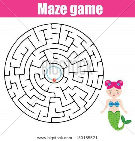 Maze children game: help the mermaid go through the labyrinth and find her treasure