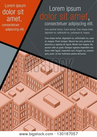 Red template for advertising brochure with big city with buildings. Downtown.