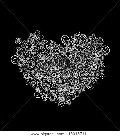 Mehndi floral heart shape (black an d white)