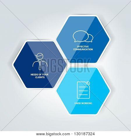 Hexagonal blue diagram, schema, info graphics element.