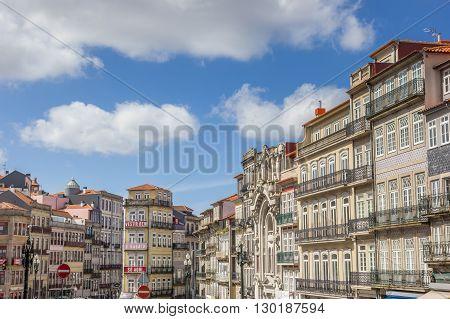 PORTO, PORTUGAL - APRIL 20, 2016: Cityscape with colorful houses of Porto, Portugal