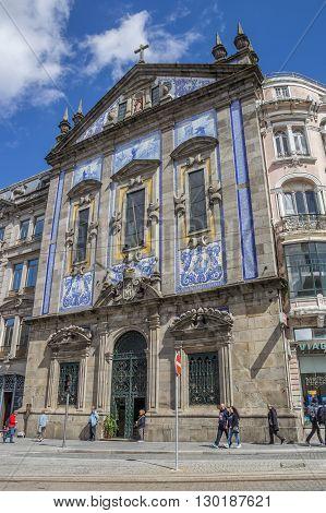 PORTO, PORTUGAL - APRIL 20, 2016: Saint Anthony Church Congregados in the center of Porto, Portugal