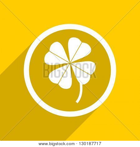 yellow flat design four-leaf clover web modern icon for mobile app and internet