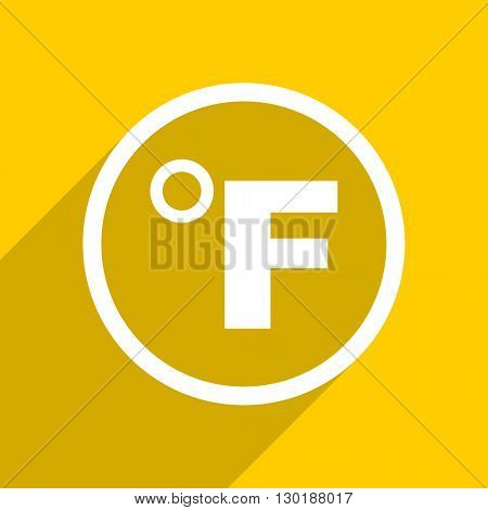 yellow flat design fahrenheit web modern icon for mobile app and internet