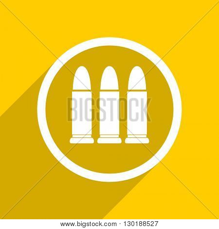 yellow flat design ammunition web modern icon for mobile app and internet