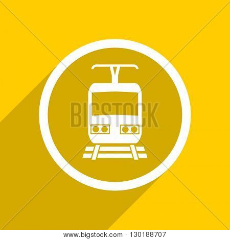yellow flat design train web modern icon for mobile app and internet
