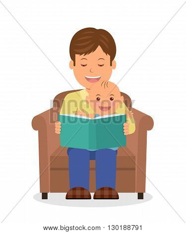 Father and child sitting in an armchair reading a book. Reading the child before bedtime. Isolated vector illustration of a dad and toddler sitting together in armchair.