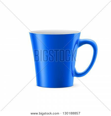 Blue cup with tapered bottom stay on white background