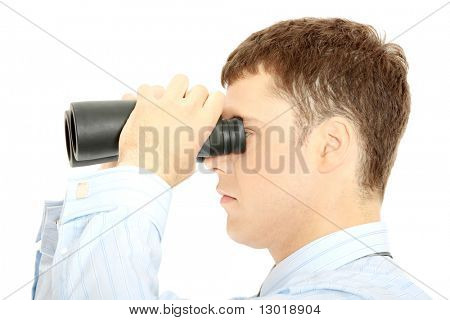 Businessman with vision isolated on white background