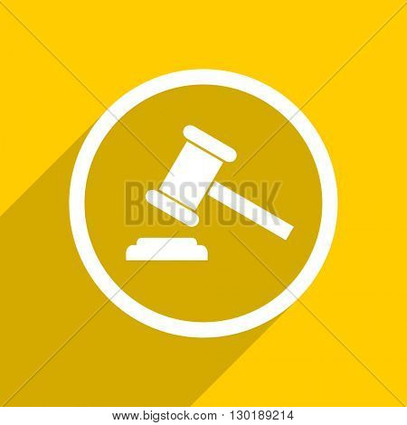 yellow flat design auction web modern icon for mobile app and internet