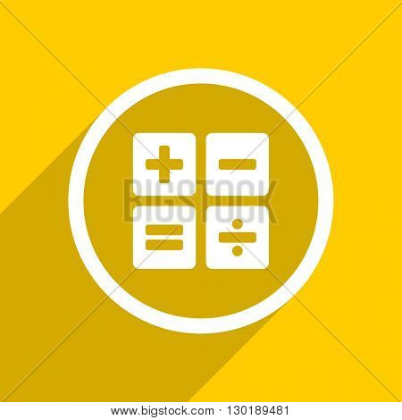 yellow flat design calculator web modern icon for mobile app and internet