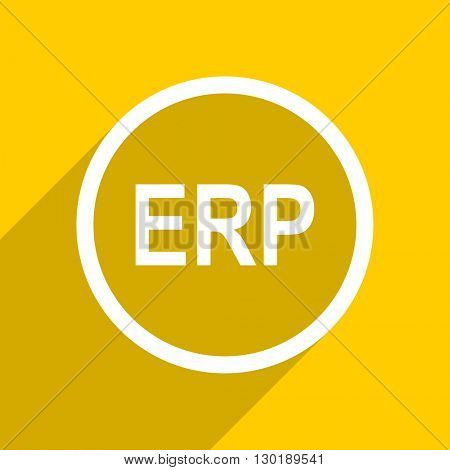 yellow flat design erp web modern icon for mobile app and internet