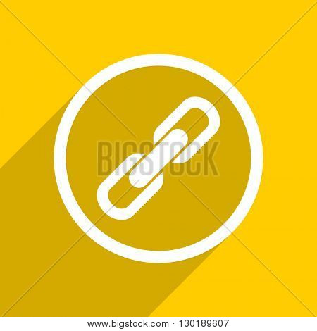 yellow flat design link web modern icon for mobile app and internet