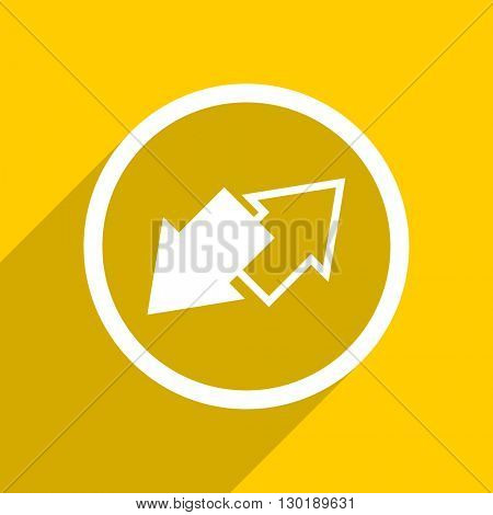 yellow flat design exchange web modern icon for mobile app and internet