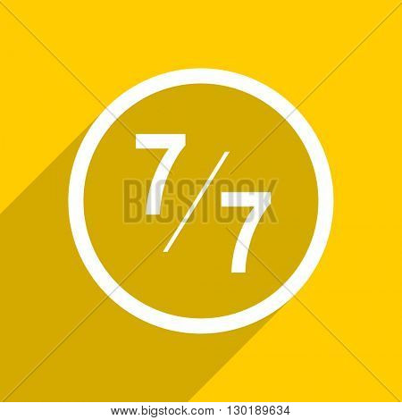 yellow flat design 7 per 7 web modern icon for mobile app and internet