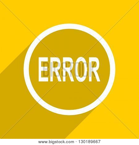 yellow flat design error web modern icon for mobile app and internet