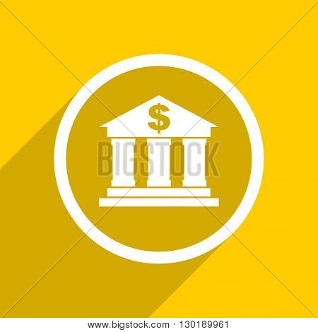yellow flat design bank web modern icon for mobile app and internet