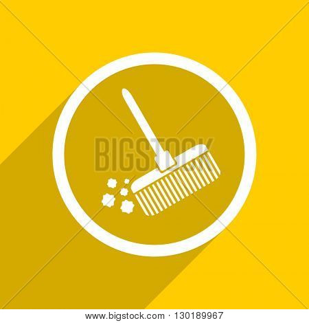 yellow flat design broom web modern icon for mobile app and internet